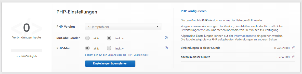 PHP-Einstellungen im User Control Panel